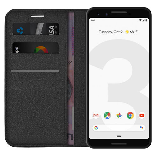 Leather Wallet Case & Card Holder Pouch for Google Pixel 3 - Black